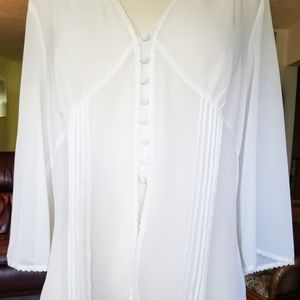 JPR Seperates Sheer White Blouse Victorian Style
